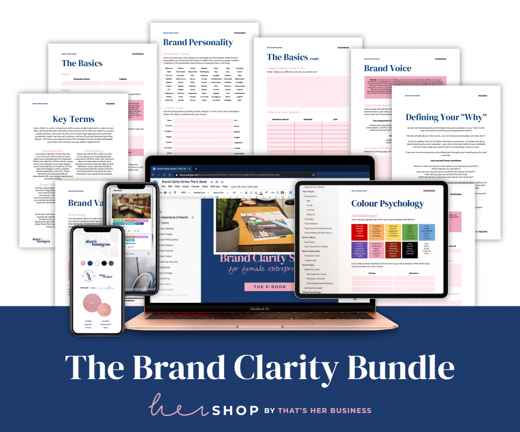 Image of the pages included in the Brand Clarity Bundle